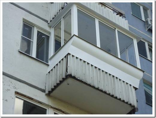 Остекление балкона с выносом подоконника
