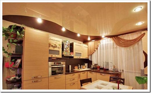 Помним о частом уходе за натяжным потолком на кухне